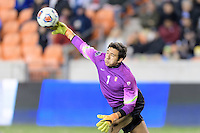 Houston, TX - Friday December 9, 2016: Stanford Cardinal Goalkeeper, Andrew Epstein (1) throws the ball to a teammate against the North Carolina Tar Heels at the NCAA Men's Soccer Semifinals at BBVA Compass Stadium in Houston Texas.