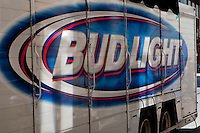 Bud Light logo is seen on a delivery truck on rue St-Jean street in Quebec city May 4, 2009.