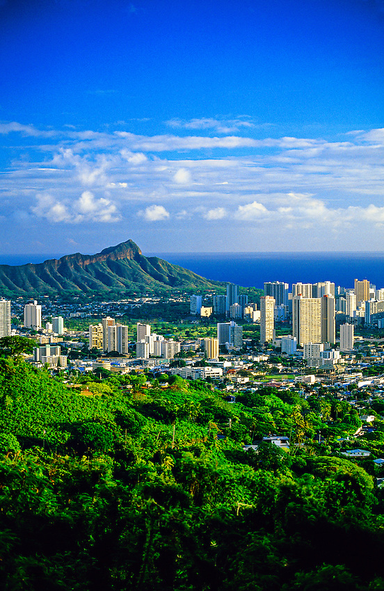 View of Downtown Honolulu with Diamond Head Crater on left in background, Oahu, Hawaii USA