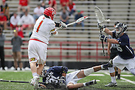 College Park, MD - February 25, 2017: Maryland Terrapins Matt Rambo (1) scores a goal during game between Yale and Maryland at  Capital One Field at Maryland Stadium in College Park, MD.  (Photo by Elliott Brown/Media Images International)