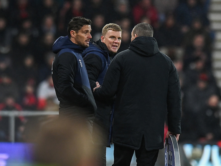Bournemouth assistant manager Jason Tindall (left) and manager Eddie Howe (right) <br /> <br /> Photographer David Horton/CameraSport<br /> <br /> The Premier League - Bournemouth v West Ham United - Saturday 19 January 2019 - Vitality Stadium - Bournemouth<br /> <br /> World Copyright &copy; 2019 CameraSport. All rights reserved. 43 Linden Ave. Countesthorpe. Leicester. England. LE8 5PG - Tel: +44 (0) 116 277 4147 - admin@camerasport.com - www.camerasport.com