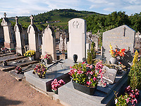 France, FRA, Beaujolais, Fleurie, 2010Aug15: Graves on the Fleurie graveyard.