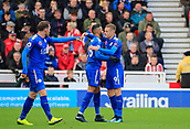 4th November 2017, bet365 Stadium, Stoke-on-Trent, England; EPL Premier League football, Stoke City versus Leicester City; Riyad Mahrez of Leicester City celebrates scoring the second goal with Jamie Vardy to make the score 2-1 to Leicester