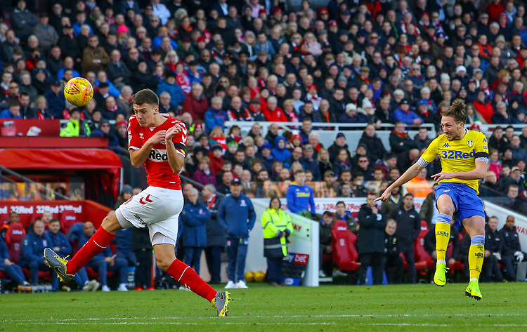 Leeds United's Luke Ayling shots over from distance<br /> <br /> Photographer Alex Dodd/CameraSport<br /> <br /> The EFL Sky Bet Championship - Middlesbrough v Leeds United - Saturday 9th February 2019 - Riverside Stadium - Middlesbrough<br /> <br /> World Copyright &copy; 2019 CameraSport. All rights reserved. 43 Linden Ave. Countesthorpe. Leicester. England. LE8 5PG - Tel: +44 (0) 116 277 4147 - admin@camerasport.com - www.camerasport.com