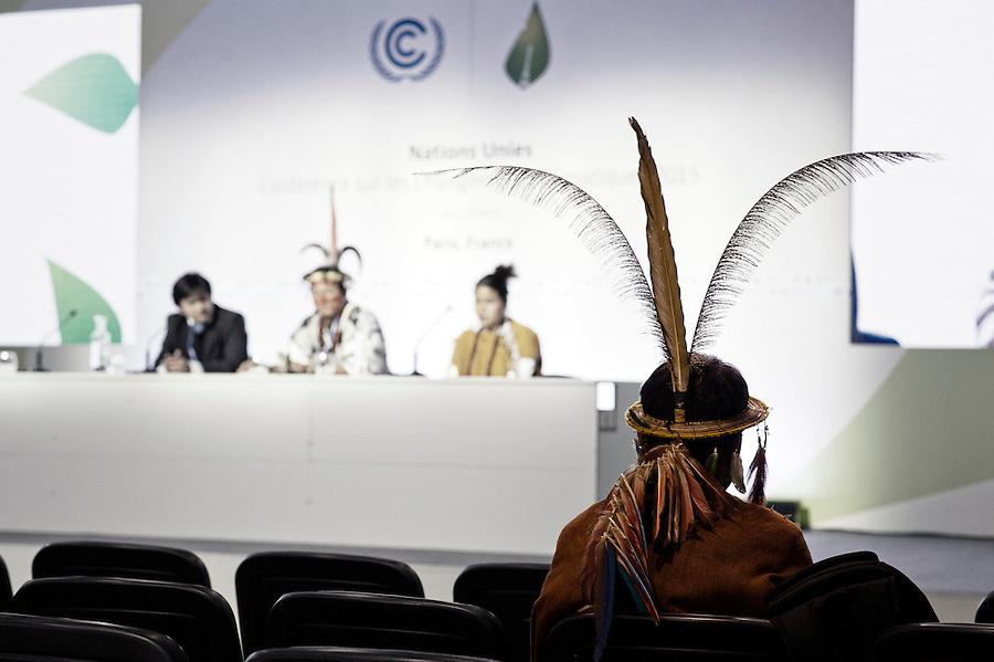 16h50. La délégation des indiens de la forêt amazonienne tient une conférence de presse devant une salle quasiment vide.