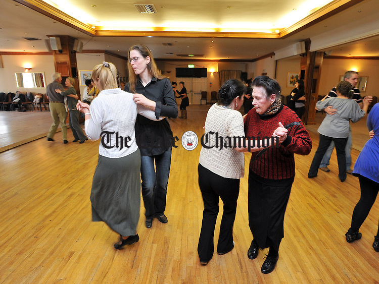 Chris Eichbaum, Ana Luise Medsen, Maura Mc Hugh and Mary Bohan step it out  during Ger Butler's class at the Step To The West set dancing weekend at The Falls Hotel Ennistymon Photograph by John Kelly.