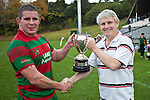 Neil Simmonds presents Waiuku captain Grant Henson with the McNamara Cup. Counties Manukau McNamara Cup Premier Club Rugby final between Pukekohe andWaiuku, held at Bayer Growers Stadium, on Saturday July 17th. Waiuku won 25 - 20.
