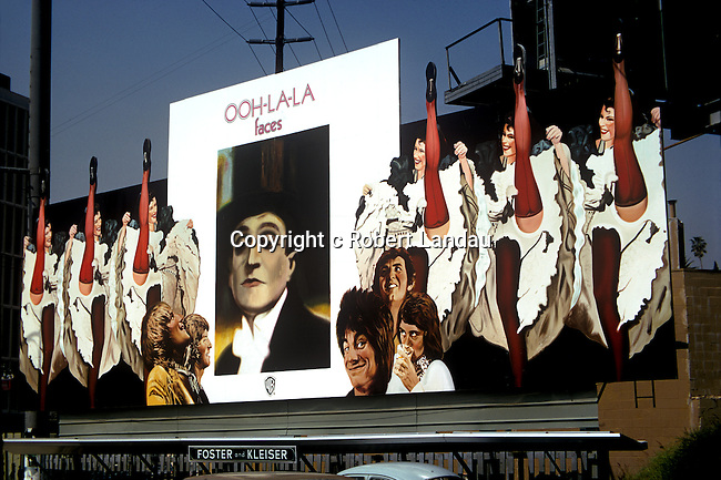 The Faces with Rod Stewart and Ron Wood billboard on the Sunset Strip circa 1973