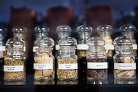 Exhibit on display at the Galimard perfume factory and visitor centre, Grasse, France, 3 May 2013. Different natural sources of essential oil used in perfume making are shown in labelled jars.