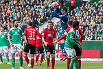 13.04.2019, Weser Stadion, Bremen, GER, 1.FBL, Werder Bremen vs SC Freiburg, <br /> <br /> DFL REGULATIONS PROHIBIT ANY USE OF PHOTOGRAPHS AS IMAGE SEQUENCES AND/OR QUASI-VIDEO.<br /> <br />  im Bild<br /> <br /> Alexander Schwolow (SC Freiburg #01)<br /> Claudio Pizarro (Werder Bremen #04)<br /> Theodor Gebre Selassie (Werder Bremen #23)+<br /> Keven Schlotterbeck (SC Freiburg #31)<br /> <br /> Foto &copy; nordphoto / Kokenge
