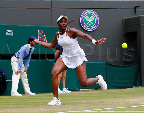 03.07.2016. All England Lawn Tennis and Croquet Club, London, England. The Wimbledon Tennis Championships Middle Sunday. Number 18 seed Sloane Stephens (USA) hits a forehand during her singles match against number 13 seed Svetlana Kuznetsova (RUS).