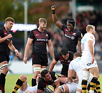 Maro Itoje of Saracens celebrates. Aviva Premiership match, between Saracens and Wasps on October 8, 2017 at Allianz Park in London, England. Photo by: Patrick Khachfe / JMP