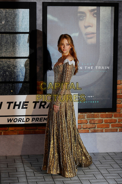 LONDON, ENGLAND - SEPTEMBER 20: Haley Bennett attending 'The Girl On The Train' World Premiere at Odeon Cinema, Leicester Square on September 20, 2016 in London, England.<br /> CAP/MAR<br /> &copy;MAR/Capital Pictures