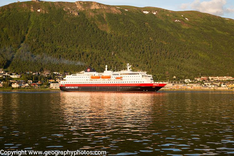 Hurtigruten ferry ship Nordlys approaching Tromso, Norway