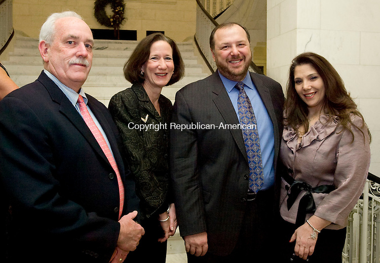 WATERBURY, CT-08 NOVEMBER 2010-010811S28--Gary and Sandra Roosa  with Al Vagnini and Liz LaCava at the City Hall Gala held at the newly restored Waterbury City Hall. <br />  Jim Shannon Republican-American