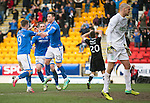 St Johnstone v Hibs...22.03.14    SPFL<br /> Michael O'Halloran celebrates the own goal as Hibs keeper Sean Murdoch despairs<br /> Picture by Graeme Hart.<br /> Copyright Perthshire Picture Agency<br /> Tel: 01738 623350  Mobile: 07990 594431