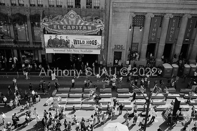 Los Angeles, California.USA.March 17, 2007..Thousands of people take to Hollywood Boulevard to protest the fourth anniversary of the war in Iraq. Flag draped coffins are placed in the street to honor the number of US deaths.