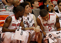 Ohio State Buckeyes guard Shannon Scott (3)mOhio State Buckeyes guard Amedeo Della Valle (33) Ohio State Buckeyes forward Marc Loving (2) relax in the final minute at Value City Arena in Columbus Jan. 4, 2013 (Dispatch photo by Eric Albrecht)