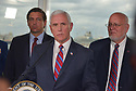 FORT LAUDERDALE, FLORIDA - MARCH 07: Florida Governor Ron DeSantis (R-FL), U.S. Vice President Mike Pence and Dr. Robert Redfield, CDC Director stand together during a press conference after participating in a discussion held at Port Everglades Administration Building about possible coronavirus (COVID-19) issues that the cruise line company leaders are experiencing on Saturday on March 07, 2020 in Fort Lauderdale, Florida. U.S. Vice President Pence and the coronavirus task force are heading up the efforts to combat the virus in the United States.  ( Photo by Johnny Louis / jlnphotography.com )