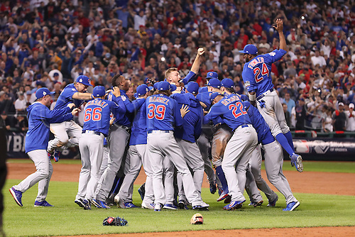 02.11.2016. Cleveland, OH, USA.  The Chicago Cubs celebrate after winning game 7 of the 2016 World Series against the Chicago Cubs and the Cleveland Indians at Progressive Field in Cleveland, OH. Chicago defeated Cleveland 8-7 in 10 innings.