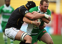 Manawatu hooker Rob Foreman is wrapped up  by Daniel Ramsay. Air NZ Cup - Wellington Lions v Manawatu Turbos at Westpac Stadium, Wellington, New Zealand. Saturday 3 October 2009. Photo: Dave Lintott / lintottphoto.co.nz