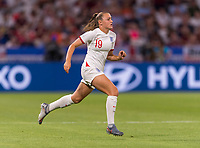 LYON,  - JULY 2: Georgia Stanway #19 sprints during a game between England and USWNT at Stade de Lyon on July 2, 2019 in Lyon, France.