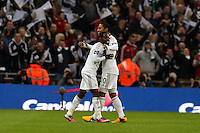 Pictured L-R: Nathan Dyer of Swansea celebrating his goa with team mate Jonathan de Guzmanl. Sunday 24 February 2013<br /> Re: Capital One Cup football final, Swansea v Bradford at the Wembley Stadium in London.