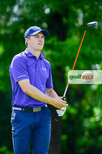 Jordan Spieth (USA) watches his tee shot on 4 during the round 1 of  the AT&amp;T Byron Nelson, TPC Four Seasons, Irving, Texas, USA. 5/19/2016.<br /> Picture: Golffile | Ken Murray<br /> <br /> <br /> All photo usage must carry mandatory copyright credit (&copy; Golffile | Ken Murray)