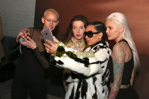NEW YORK, NY - FEBRUARY 10: Brianna, Hafiia Mira, Kim Kardashian and Amina Blue at the Yeezy Season 2 Zine Launch Party during New York Fashion Week 2016 in New York City on February 10, 2016. Credit: Jamel Johnson/MediaPunch<br /> CAP/MPI/JJ<br /> &copy;JJ/MPI/Capital Pictures