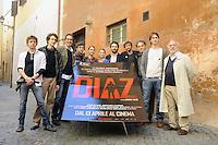"""Roma, 6 Aprile 2012.Photocall del film """"Diaz"""" . il cast degli attori"""