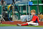 16 May 2012: Washington Nationals first baseman Adam LaRoche's son Drake LaRoche watches batting practice prior to a game against the Pittsburgh Pirates at Nationals Park in Washington, DC. Adam notched his 1000th career hit and was named Player of the Game as the Nationals defeated the Pirates 7-4 in the first game of their 2-game series. Mandatory Credit: Ed Wolfstein Photo