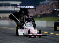Oct. 6, 2012; Mohnton, PA, USA: NHRA top fuel dragster driver Antron Brown during qualifying for the Auto Plus Nationals at Maple Grove Raceway. Mandatory Credit: Mark J. Rebilas-
