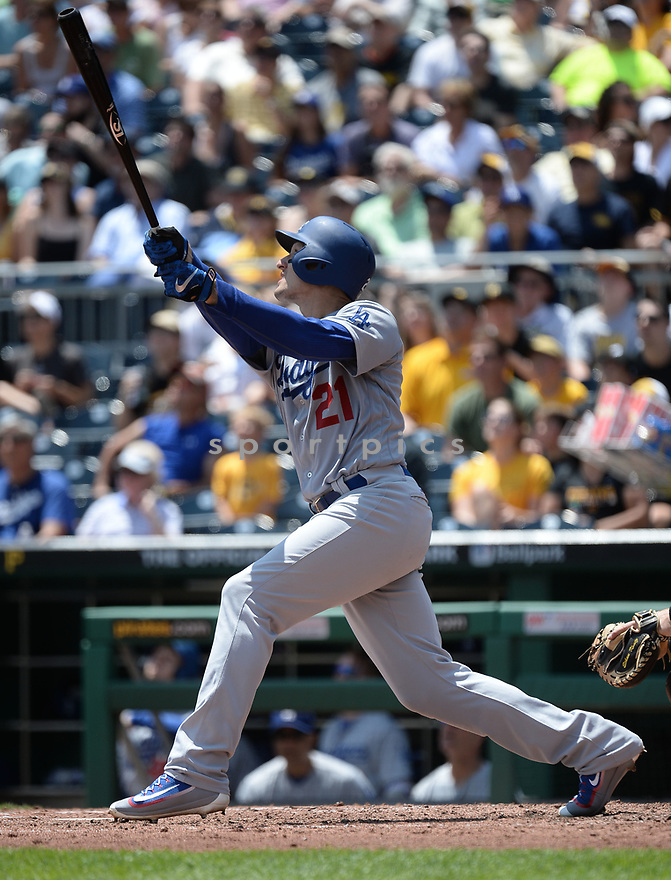 Los Angeles Dodgers Trace Thompson (21) during a game against the Pittsburgh Pirates on June 27, 2016 at PNC Park in Pittsburgh, PA. The Dodgers beat the Pirates 4-3.