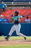 Lynchburg Hillcats first baseman Emmanuel Tapia (28) follows through on a swing during the first game of a doubleheader against the Frederick Keys on June 12, 2018 at Nymeo Field at Harry Grove Stadium in Frederick, Maryland.  Frederick defeated Lynchburg 2-1.  (Mike Janes/Four Seam Images)