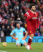 17th March 2018, Anfield, Liverpool, England; EPL Premier League football, Liverpool versus Watford; Mohammed Salah of Liverpool celebrates his second goal of the match which gives his side a 2-0 lead in the 43rd minute