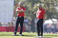 J.B. Holmes and Ryan Moore (Team USA) on the 2nd greenduring the Friday afternoon Fourball at the Ryder Cup, Hazeltine national Golf Club, Chaska, Minnesota, USA.  30/09/2016<br /> Picture: Golffile | Fran Caffrey<br /> <br /> <br /> All photo usage must carry mandatory copyright credit (&copy; Golffile | Fran Caffrey)