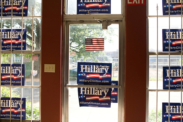 May 6, 2008. Durham, NC.. With the close North Carolina primary battle between Senators Hillary Clinton and Barack Obama, voters hit the polls to try and bring closure to this highly contested state and divide the delegates between the 2 candidates.. Posters the Hillary Clinton headquarters in Durham..