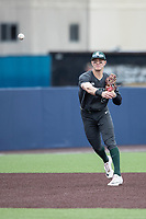 Michigan State Spartans shortstop Marty Bechina (2) makes a throw to first base in the NCAA baseball game against the Michigan Wolverines on May 7, 2019 at Ray Fisher Stadium in Ann Arbor, Michigan. Michigan defeated Michigan State 7-0. (Andrew Woolley/Four Seam Images)