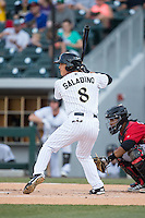Tyler Saladino (8) of the Charlotte Knights at bat against the Indianapolis Indians at BB&T BallPark on June 20, 2015 in Charlotte, North Carolina.  The Knights defeated the Indians 6-5 in 12 innings.  (Brian Westerholt/Four Seam Images)