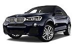 Stock pictures of low aggressive front three quarter view of a 2015 BMW X4 M sportpakket 5 Door SUV 2WD Low Aggressive