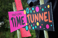 Pictured: A Time Tunnel sign Saturday 13 August 2016<br />Re: Grow Wild event at  Furnace to Flowers site in Ebbw Vale, Wales, UK