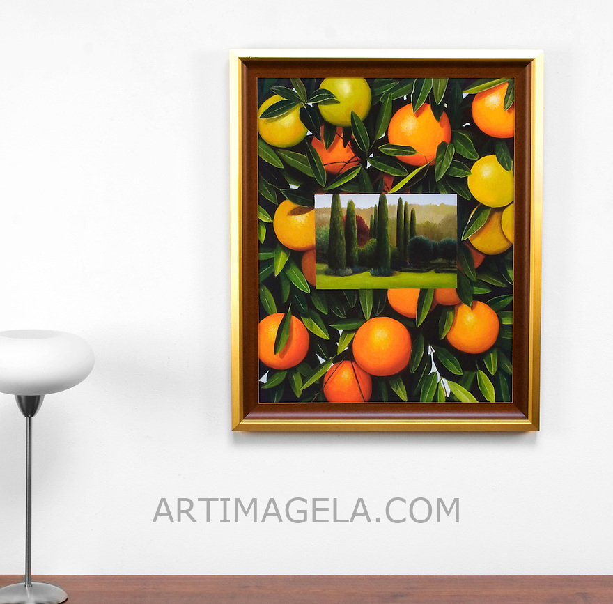 "Preston: Oranges and Trees, Framed Dimensions: 32.5"" x 26.25"" x 1"""