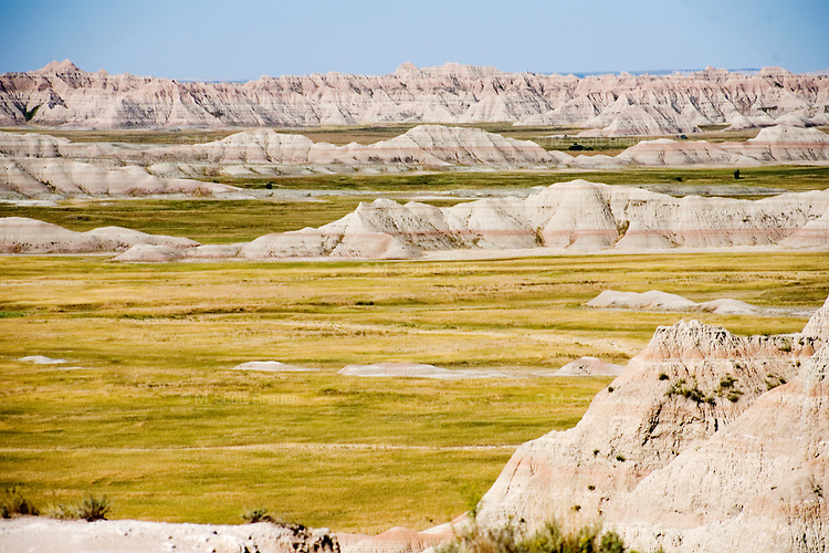 A view of eroded geological formations in the Badlands National Park in South Dakota, USA..