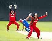 ICC World T20 Qualifier - GROUP B MATCH - Afghanistan v Oman at Heriots CC, Edinburgh - Oman's Zeeshan Maqsood claims an lbw as his side go on to win  — credit @ICC/Donald MacLeod - 15.07.15 - 07702 319 738 -clanmacleod@btinternet.com - www.donald-macleod.com