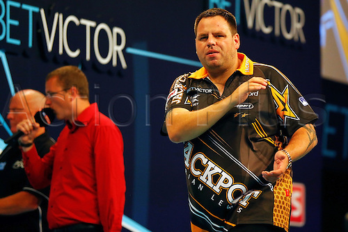 23.07.2016. Empress Ballroom, Blackpool, England. BetVictor World Matchplay Darts. Adrian Lewis looks disappointed at missing a double finish