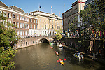 People kayaking near the Stadhuis, Oudegracht canal, Utrecht, Netherlands