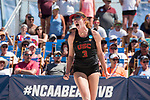 GULF SHORES, AL - MAY 07: Kelly Claes (3) of the University of Southern California celebrates winning a point during the Division I Women's Beach Volleyball Championship held at Gulf Place on May 7, 2017 in Gulf Shores, Alabama.The University of Southern California defeated Pepperdine 3-2 to claim the national championship. (Photo by Stephen Nowland/NCAA Photos via Getty Images)