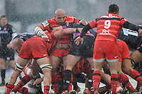 Gurthro Steenkamp of Stade Toulousain holds a maul together during the Heineken Cup 6th round match between Leicester Tigers and Stade Toulousain at Welford Road on Sunday 20th January 2013 (Photo by Rob Munro).