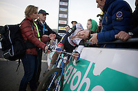 Mathieu Vanderpoel (NLD/BKCP-Powerplus) collapses against the side boards only meters after finishing on the steep Raidillon climb<br /> <br /> Superprestige Francorchamps 2014