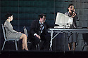 EMBARGOED UNTIL 7:30pm 11.04.15. London, UK. 09.04.2015. English National Opera presents the world premiere of Tansy Davies' BETWEEN WORLDS, at the Barbican. Picture shows: Rhian Lois (Younger Woman), William Morgan (Younger Man) and Clare Presland (Realtor). Photograph © Jane Hobson.